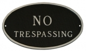 No Trespassing Oval Montague Aluminum Plaque