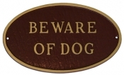 Beware Of Dog Oval Montague Aluminum Plaque