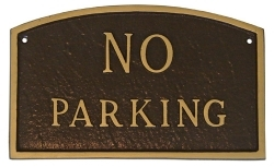 No Parking Arch Montague Aluminum Plaque