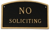 No Soliciting Arch Montague Aluminum Plaque