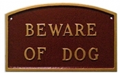 Beware Of Dog Arch Montague Aluminum Plaque