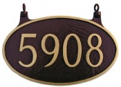Two Sided Oval Hanging Montague Aluminum Address Plaque