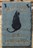 The Stone Mill Personalized Welcome Sitting Cat Slate Plaque