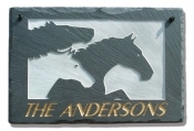 The Stone Mill Personalized Three Horses Slate Plaque