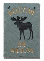 The Stone Mill Personalized Welcome Moose Slate Plaque
