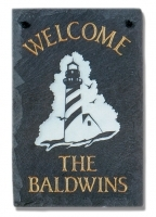 The Stone Mill Personalized Welcome Lighthouse Slate Plaque
