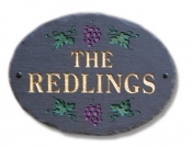 The Stone Mill Personalized Oval Grapes Slate Plaque