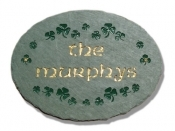The Stone Mill Personalized Oval Shamrocks Slate Plaque