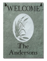 The Stone Mill Personalized Welcome Cattails Slate Plaque