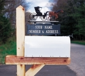 Two Line Double Sided Mailbox Sign with Hand Painted Ornament